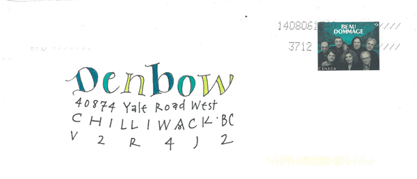 art envelop addressed to denbow