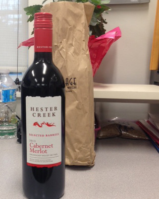 Bottle of wine as thank you