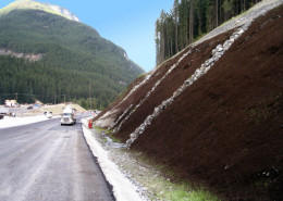 Slope Stabilization on steep slope beside highway