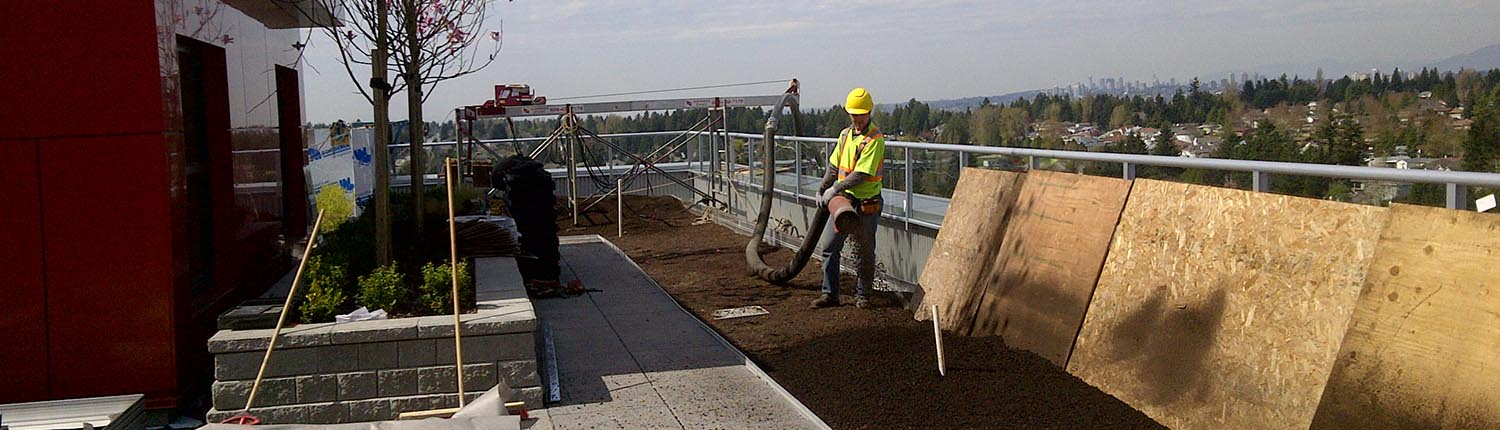 Green roof soil installation