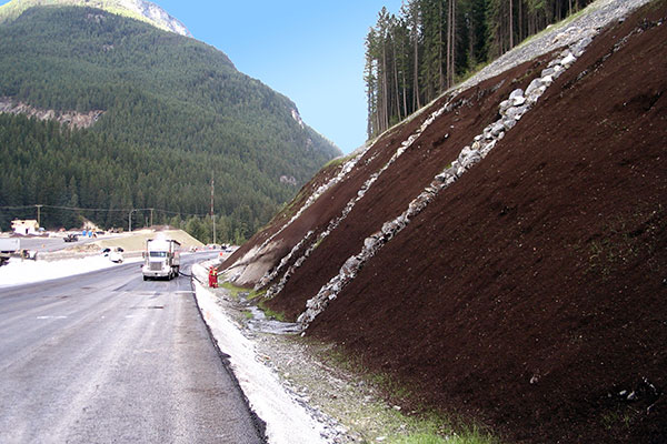 Slope stabilization services beside a canadian highway