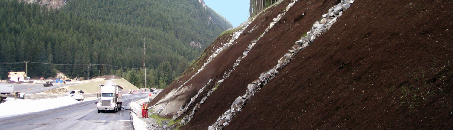 Slope Stabilization on steep slope beside highway