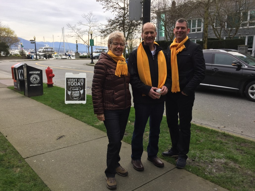 Margaret Dunn, Joe Neels and Steve Heppel serving egg sandwiches In Vancouver  | March 11, 2016
