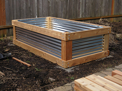 corrugated metal garden bed