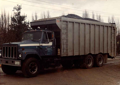 old sawdust blower truck denbow