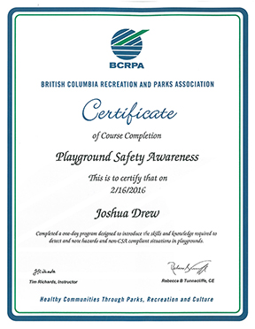 Josh Drew Playground Safety Course