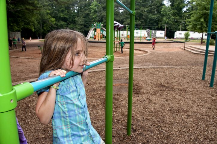 playground safety - girl on bars