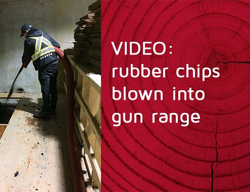 blowing rubber chips gun range