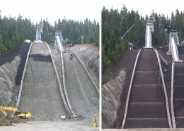 olympic ski jump construction slope stailbilzation vegetation